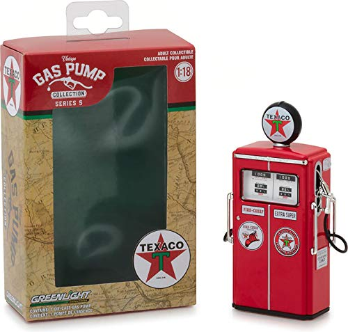 """Greenlight Collectibles Vintage Gas Pump Collection 1954 Tokheim 350 Twin Gas Pump Texaco """"Fire Chief Extra Super"""" Red"""