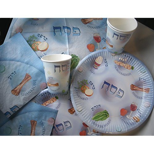 Passover Disposable Paper Plates, Cups and Napkins for Seder Table Decoration.