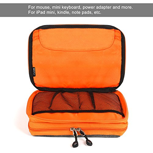 Electronics Organizer, Jelly Comb Electronic Accessories Cable Organizer Bag Waterproof Travel Cable Storage Bag for Charging Cable, Cellphone, Mini Tablet (Up to 7.9'') and More (Orange and Gray) Photo #4