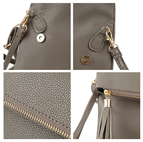 Girls Purse Bag 180093 LIZHIGU Beigewhite Women's Leather Fashion Clutch for Zipper Teen Shoulder Crossbody Bag wY7Fw