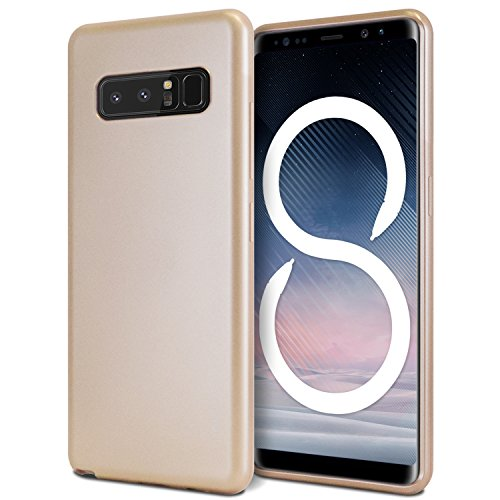 Galaxy Note 8 Case, [Slim Fit] GOOSPERY i-Jelly Case [Metallic Finish] Impact Resistant [Flexible] Rubber TPU Bumper Case [Protection] for Samsung Galaxy Note 8 (Metallic Gold) NT8-IJEL-GLD