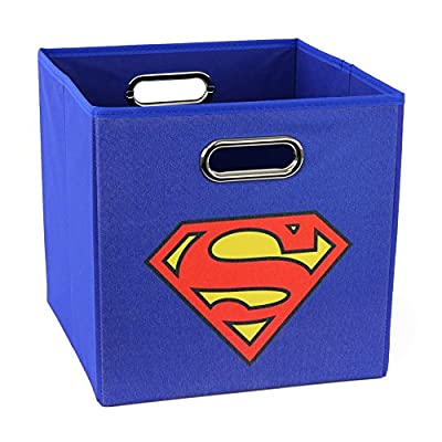 Superman - Folding Storage Bin for Toys - Bedroom Organizer - Fold-able Storage Bin with Large Capacity. Adult and Kids Room Décor, Solid Blue for All Ages!