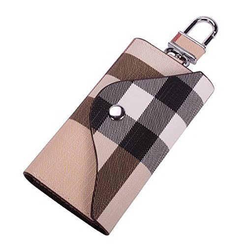 Key Holder Case, Portable PU Leather Car Key Chain Purse with 6 Hooks for Men Women
