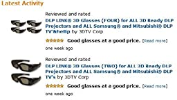 3DTV Corp DLP-LINK 3D Glasses 2 Pairs for ALL 3D Ready DLP Projectors and ALL Samsung and Mitsubishi DLP TV\'s