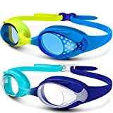 OutdoorMaster Kids Swimming Goggles – Fun Fish Style Swim Goggles for Children (Age 4-12) Leakproof Design, Shatterproof Anti-Fog 100% UV Protection Lens & Quick Adjustable Strap – 2 Pack