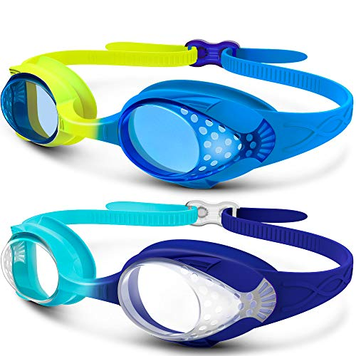 OutdoorMaster Kids Swimming Goggles - Fun Fish Style Swim Goggles for Children (Age 4-12) Leakproof Design, Shatterproof Anti-Fog 100% UV Protection Lens & Quick Adjustable Strap - 2 Pack-A