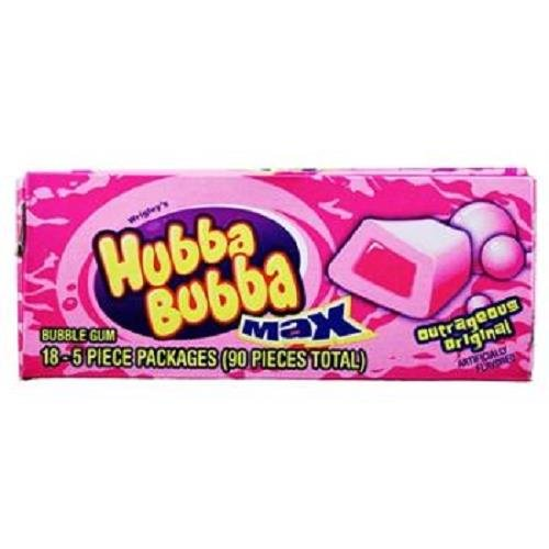 HUBBA BUBBA MAX BUBBLEGUM OUTRAGEOUS ORIGINAL 5 pcs Each ( 18 in a Pack ) by Hubba Bubba Max Original Bubbke Gum By Wrigleys
