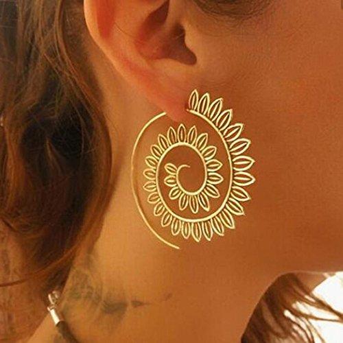 Jarsh Women Elegant Fashion Vintage Spiral Shaped Hook Earrings Jewelry Accessories (Vintage Silverware Silver Jewelry Earring)