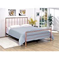 Furniture of America Constanza King Metal Slat Bed in Rose Gold