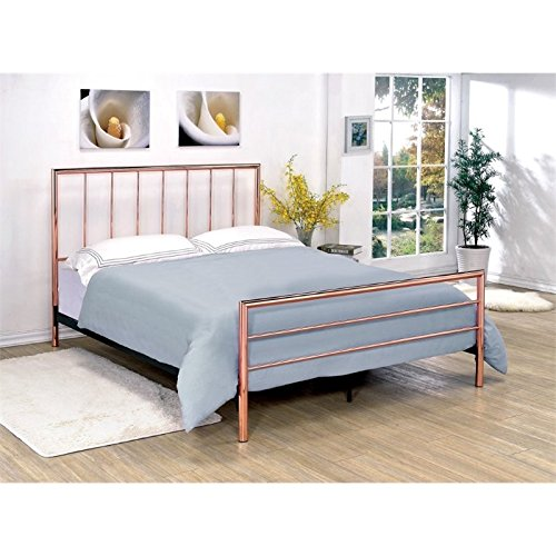 Furniture of America Constanza King Metal Slat Bed in Rose Gold (Gold Slat)