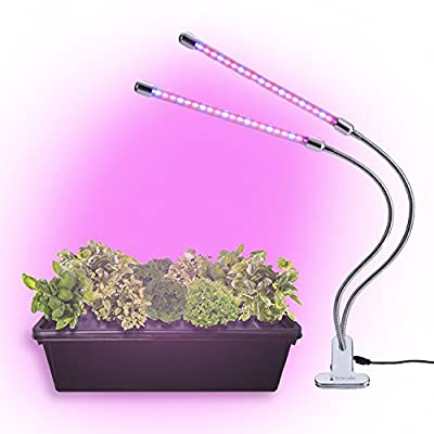 BriteLabs LED Grow Light for Indoor House Plants and Garden, 20W Plant Lights with 40 Red Blue Spectrum LEDs, Adjustable Dual Head Gooseneck Fixture Kit with Stand, 9 Dimmable Levels 3/9/12H Timer