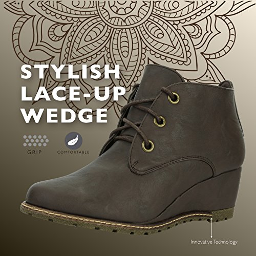 Wedge up Oxford High Fashion Women's Brown Round Bootie Ankle Toe PU DailyShoes qxE8FY0Y
