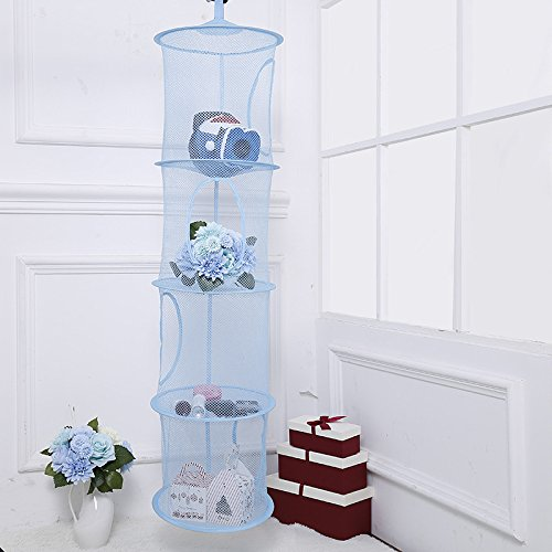 Hanging Mesh Space Saver Bags Organizer 3 Compartments Foldable Mesh Hanging Storage Basket for Travel, Kids Room, Bathroom and Balcony(Blue) Rich Boxer
