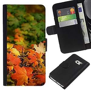 Planetar® Modelo colorido cuero carpeta tirón caso cubierta piel Holster Funda protección Para Samsung Galaxy S6 / SM-G920 EDGE ( Fall Sun Golden Brown Autumn Maple )