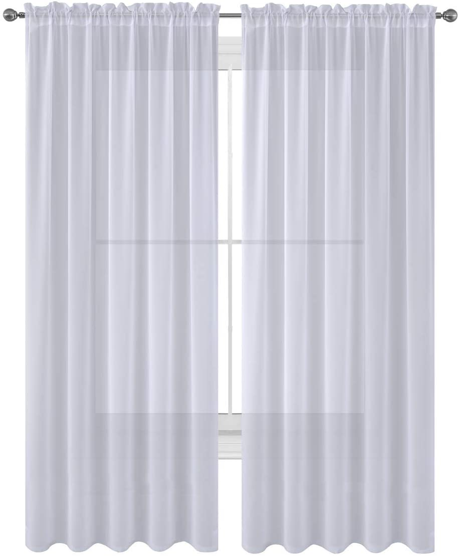 """Luxury Discounts 2 PC Solid Rod Pocket Sheer Window Curtain Treatment Drape Voile Panels in Variety of Colors (55""""x84"""", White)"""