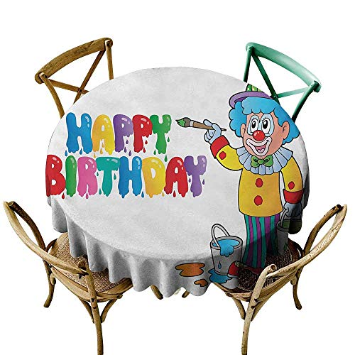StarsART Wholesale tablecloths Kids Birthday,Happy Clown for Party with Colorful Painting Drawing Style Buckets Print,Multicolor D36,Modern Washable Tablecovers