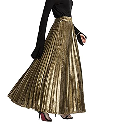 mewow Women's Metallic Skirt High Stretchy Waist Pleated A Line Swing Skirt, Long and Short