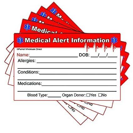 Alerta Médica de Emergencia información ID 32pt rojo Edge tarjetas ...