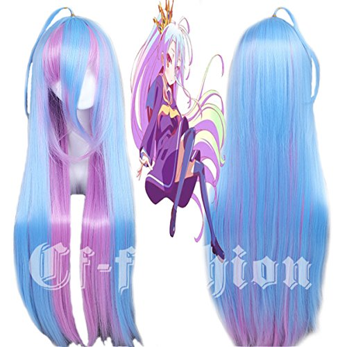 Price comparison product image Cfalaicos No Game No Life Shiro Cosplay Wig Long Blue Mix Cosplay Convention Wigs (Shiro)