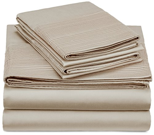 (Pinzon 400-Thread-Count Egyptian Cotton Sateen Pleated Hem Sheet Set - King,)