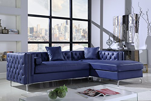 Iconic Home Da Vinci Right Hand Facing Sectional Sofa L Shape Chaise PU Leather Button Tufted with Silver Nailhead Trim Silvertone Metal Leg with 3 Accent Pillows, Modern Contemporary, Navy