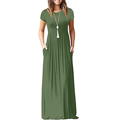 AUSELILY Women Short Sleeve Loose Plain Casual Long Maxi Dresses with Pockets at Women's Clothing store