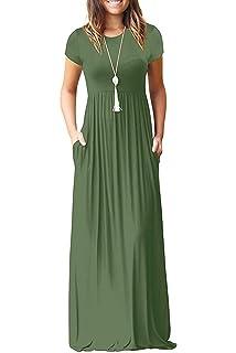 a91b9c825 MISFAY Women Short Sleeve Loose Plain Maxi Dresses Casual Long Dresses  Pockets