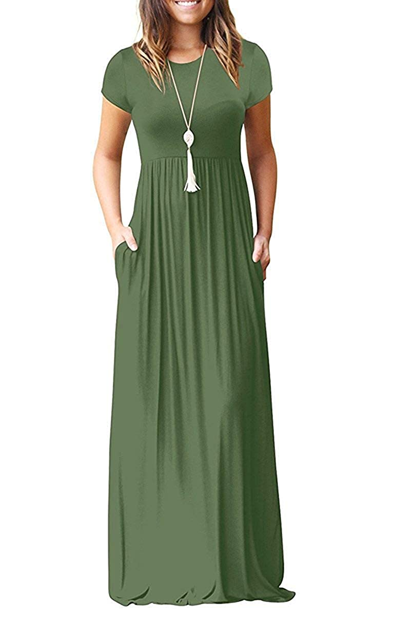 92cbb94e4b MISFAY Women Short Sleeve Loose Plain Maxi Dresses Casual Long Dresses  Pockets at Amazon Women's Clothing store: