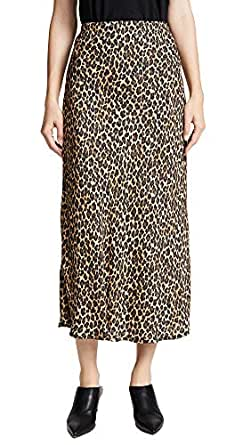 Three Dots Women's Leopard Print Midi Skirt, Black/Camel, X-Small