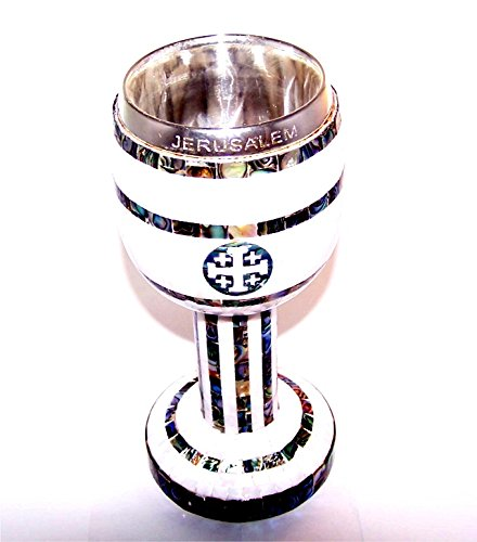 Exquisite quality and looks Communion Wine Cup - Top quality Mother of Pearls with Olive wood by Holy Land Market