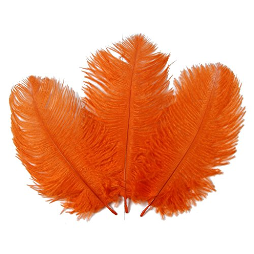 Hgshow 6-to-8-Inch Ostrich Feather, 20-Pieces, Orange