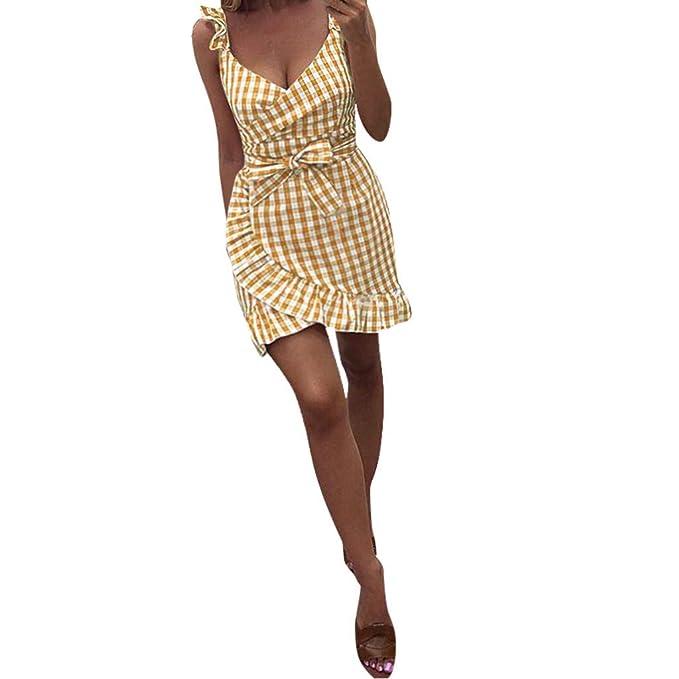 a30037d4ab Btruely Vestido Mujer Verano Vestido Mini Corto a Cuadros con Volantes  Vestidos Fuera del Hombro a