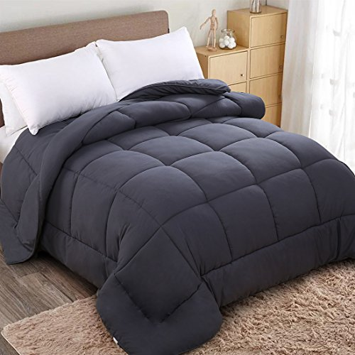 WARM HARBOR All Season Down Alternative Quilted Comforter and Duvet Insert – Luxury Hotel Collection Premium Lightweight (Twin, Grey)