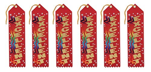Beistle AR183 Excellent Award Ribbons, 2 by 8-Inch, 6-Pack