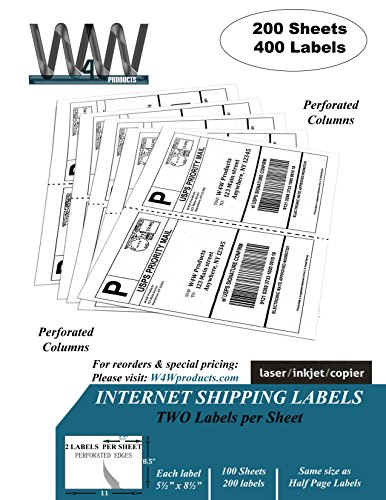 Double Pack, [200 Sheets - 400 Labels] 2-up Half Sheet Self Adhesive Internet Shipping Labels, 5.5