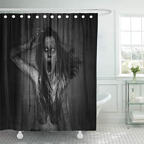 Emvency Fabric Shower Curtain with Hooks Moaning 3D
