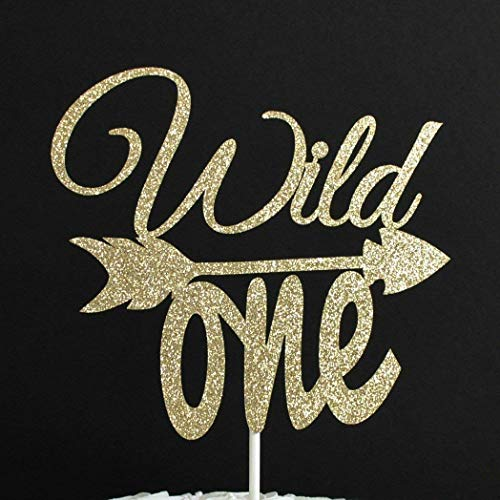 Wild One with Arrow Gold Glitter Paper First Birthday Cake Topper