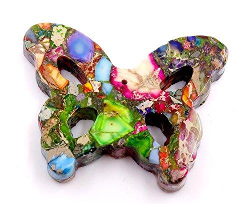 Natural Jewelry Sea Sediment Jasper/Copper Strand Bead Set Necklace Making Multi-color Butterfly