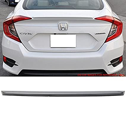 2017 Pre-Painted Trunk Spoiler Fits 2016-2018 Honda Civic Factory Style #NH578 Taffeta White ABS Trunk Boot Lip Spoiler Wing Deck Lid By IKON MOTORSPORTS