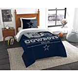 2 Piece NFL Dallas Cowboys Twin Size Comforter Set, Dorm Sports Fan Bedding, National Football League Themed, Featuring Team Logo Printed, College Unisex Sport Fans Bedroom, Navy, Grey, MultiColor