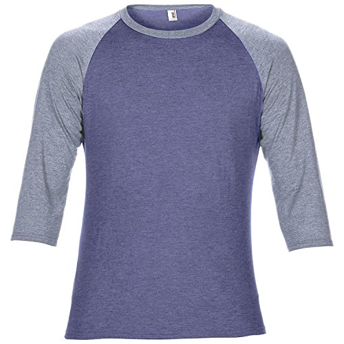 (Anvil Unisex Two Tone Tri-Blend 3/4 Sleeve Raglan T-Shirt (M) (Heather Blue/Heather Grey))
