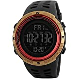 SKMEI Digital Dial Men's Watch-1251 Black (Gold-Red)