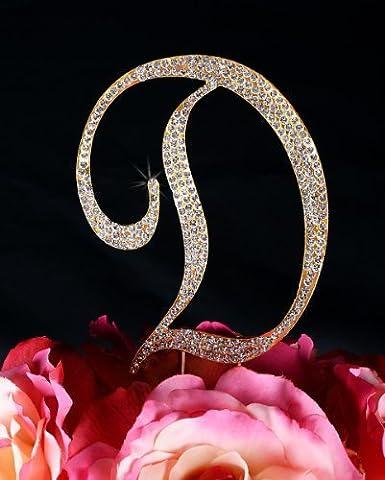 Unik Occasions Sparkling Collection Crystal Rhinestone Monogram Cake Topper - Letter D, Large, Gold - Swarovski Crystal Wedding Cake