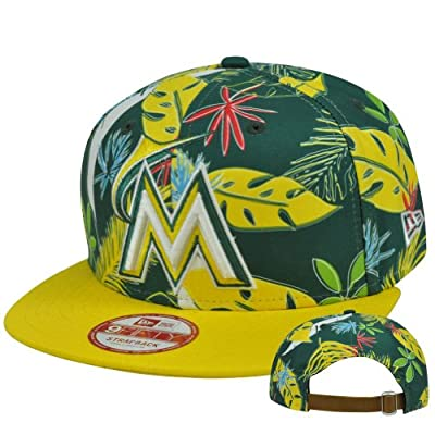 MLB Miami Marlins Multi Hawaiin New Era 9Fifty Faux Sun Buckle Green Hat Cap M/L