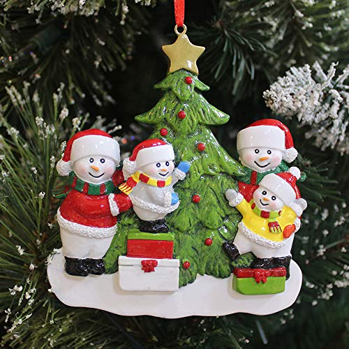 BCSmyer Personalized Snowman Family of 4 Christmas Ornaments 2019,Gift Box with Free Tool for Personalization (Family of 4) (Family Personalized Snowman)