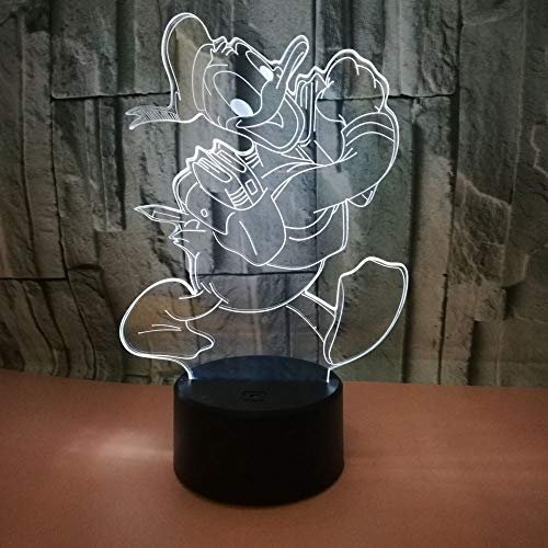 (Donald Duck 3D Lamp Table NightLightDonald Duck 7 Color Change LED Desk Light Touch Multicolored USB Power As Home Decoration Lights for Boys Girls Kids Baby (Touch) (Donald Duck)