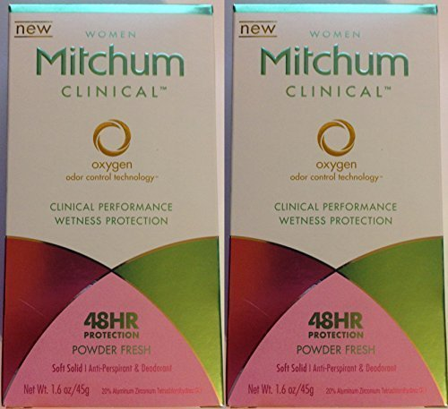Mitchum Clinical Antiperspirant Deodorant for Women - Soft Solid - Powder Fresh - Net Wt. 1.6 oz (45 g) Each - Pack of 2 by Mitchum