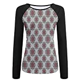 Weiding Persian Moroccan Middle Eastern Design with Flower Women's Stretchy Long Sleeve Raglan Tshirt L