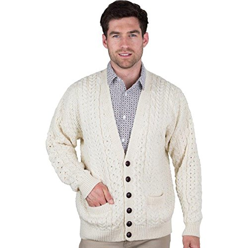Men's 100% Irish Merino Wool V Neck Sweater with Front Buttons from Carriag Donn by The Irish Store - Irish Gifts from Ireland