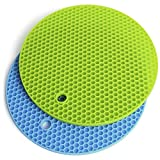 iGadgitz Home U6881 Set of 2 Round Pot Silicone Mat Heat Resistant Trivet Mat Non-Slip Honeycomb Pot Holders – Blue & Green (18cm)